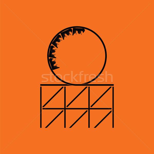 Pętla ikona pomarańczowy czarny zabawy Zdjęcia stock © angelp
