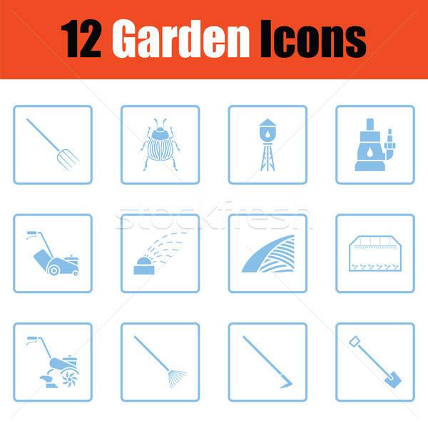 Set giardinaggio icone blu frame Foto d'archivio © angelp