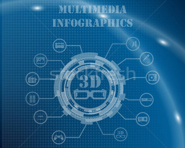Multimedia Infographic Template Stock photo © angelp