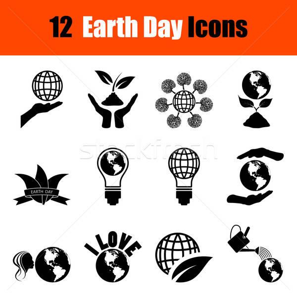 Conjunto dia da terra doze preto ícones Foto stock © angelp