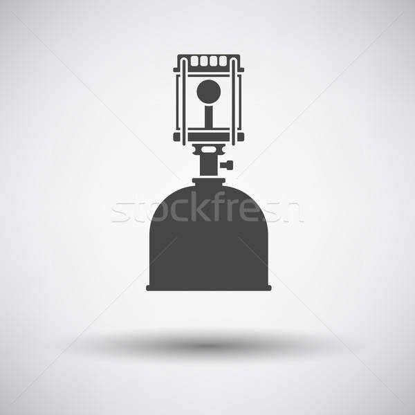 Kempingezés benzin lámpa ikon szürke háttér Stock fotó © angelp