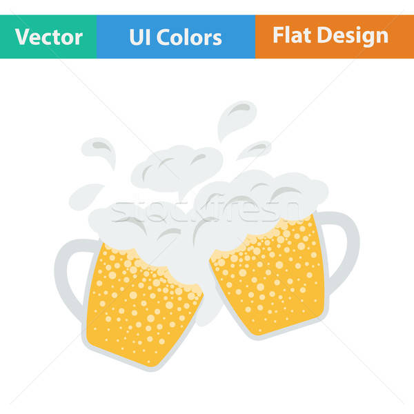 Two clinking beer mugs with fly off foam icon.  Stock photo © angelp
