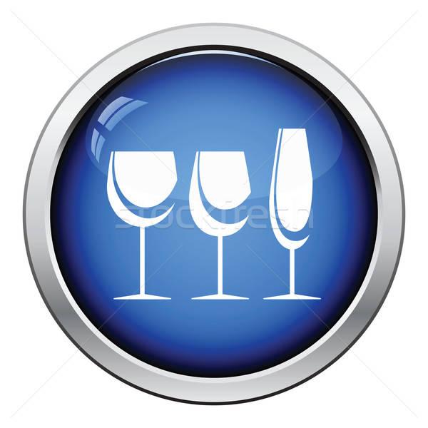 Verres icône bouton design Photo stock © angelp