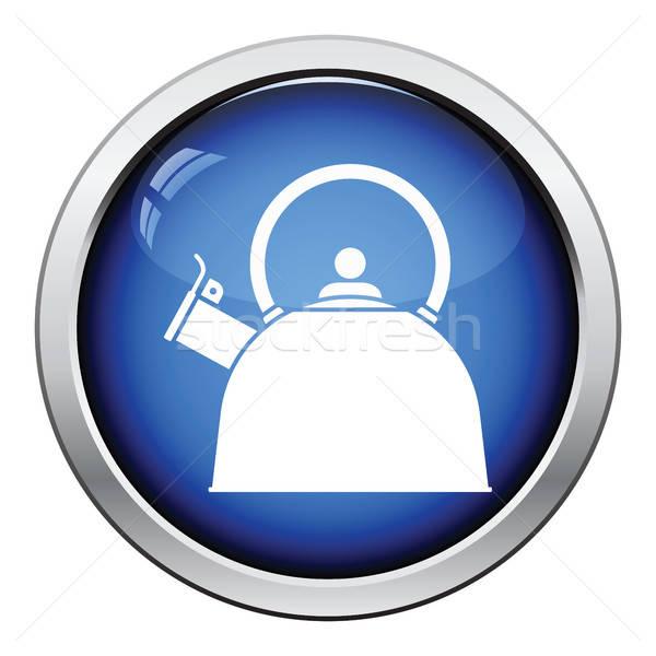 Konyha bogrács ikon fényes gomb terv Stock fotó © angelp