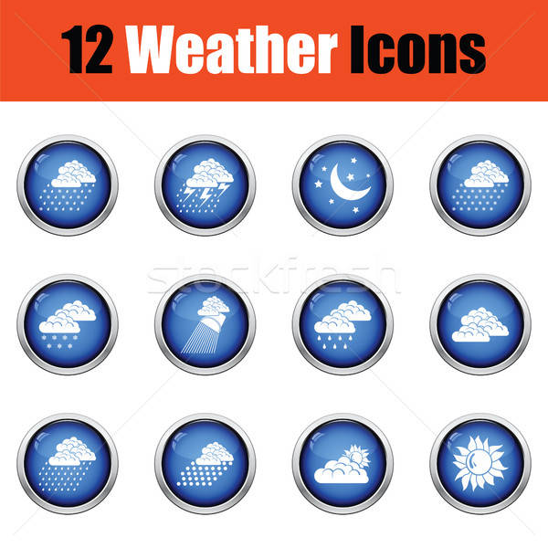 Set of weather icons. Flat design tennis icon set in ui colors.  Stock photo © angelp