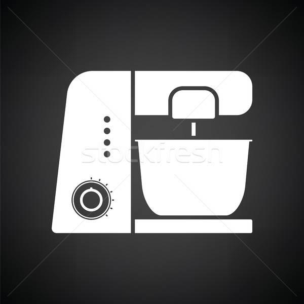 Cucina alimentare processore icona bianco nero home Foto d'archivio © angelp