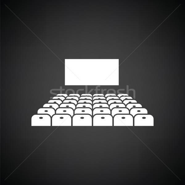 Cinéma auditorium icône blanc noir concert film Photo stock © angelp