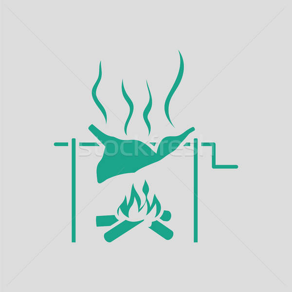 Roasting meat on fire icon Stock photo © angelp