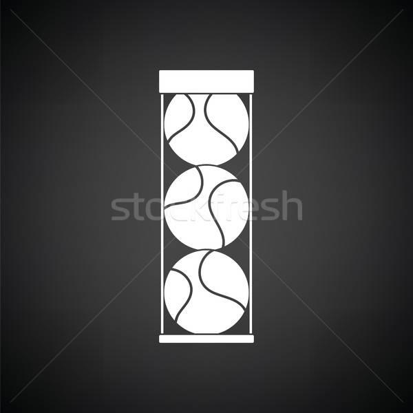Balle de tennis contenant icône blanc noir herbe tennis Photo stock © angelp