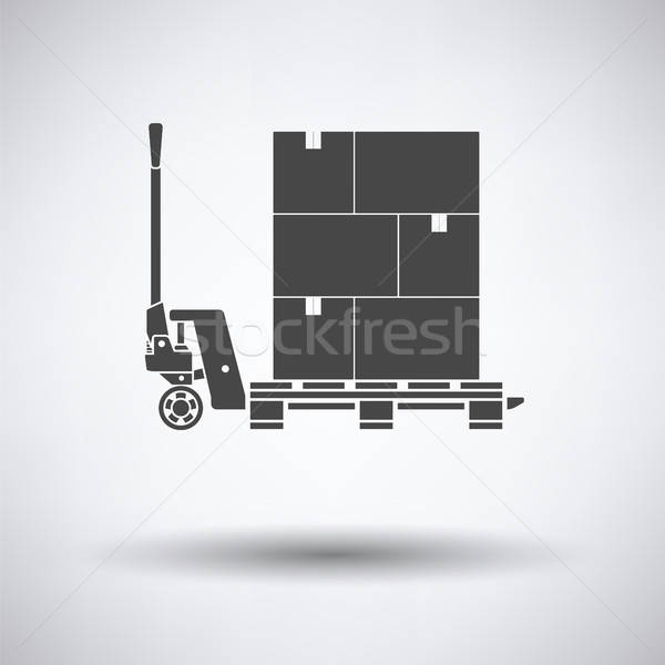 Hand hydraulic pallet truc with boxes icon Stock photo © angelp