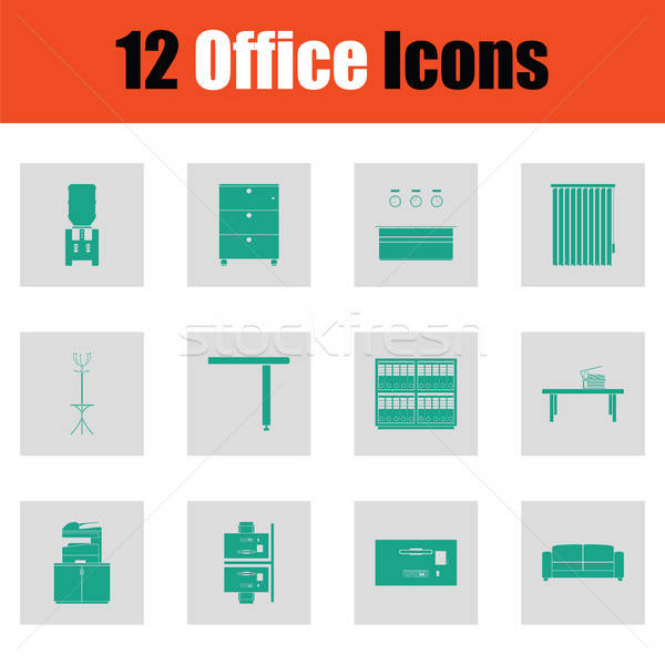 Office furniture icon set Stock photo © angelp