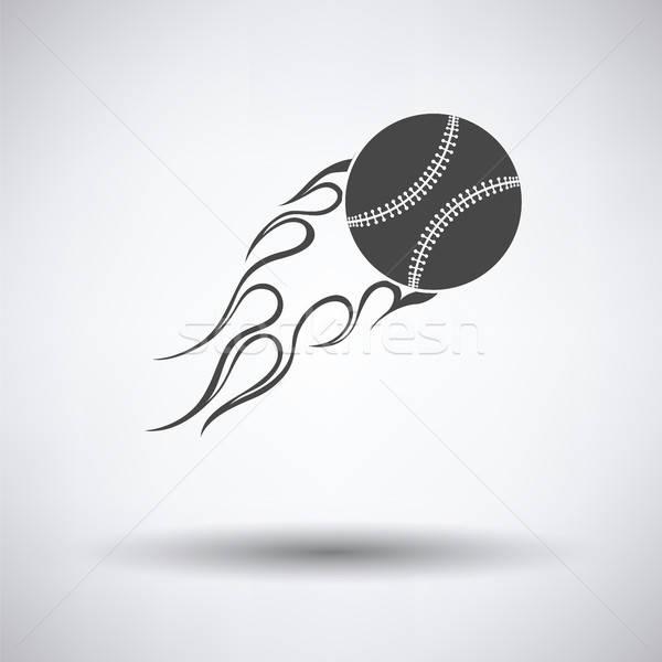 Baseball ognia piłka ikona szary podpisania Zdjęcia stock © angelp