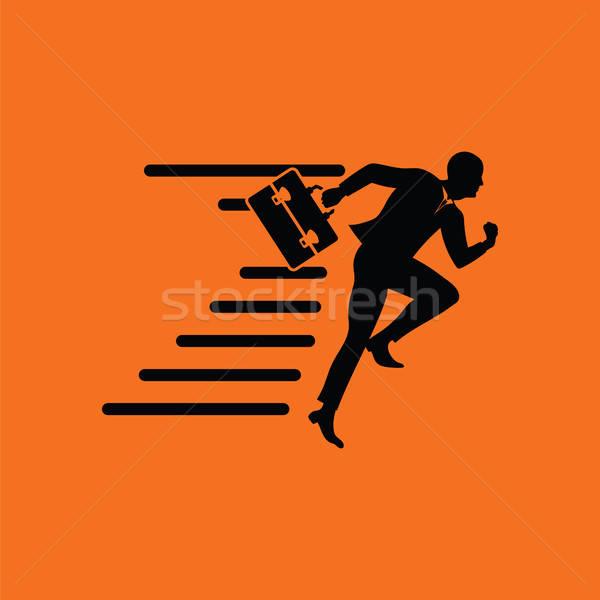 Empresário ícone laranja preto escritório trabalhar Foto stock © angelp