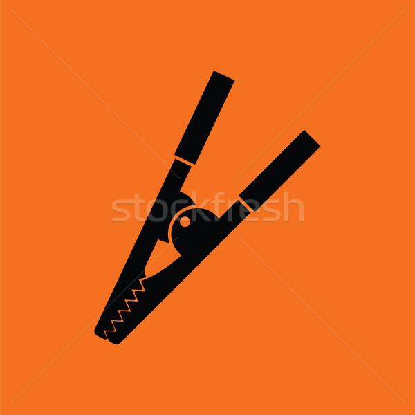 Cocodrilo clip icono naranja negro arte Foto stock © angelp