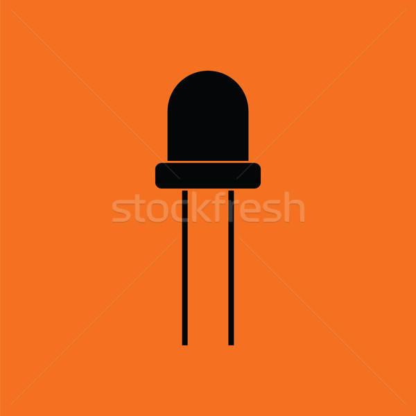 Diode icon oranje zwarte licht technologie Stockfoto © angelp