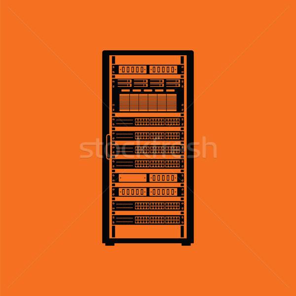 Szerver rack ikon narancs fekete üzlet számítógép Stock fotó © angelp