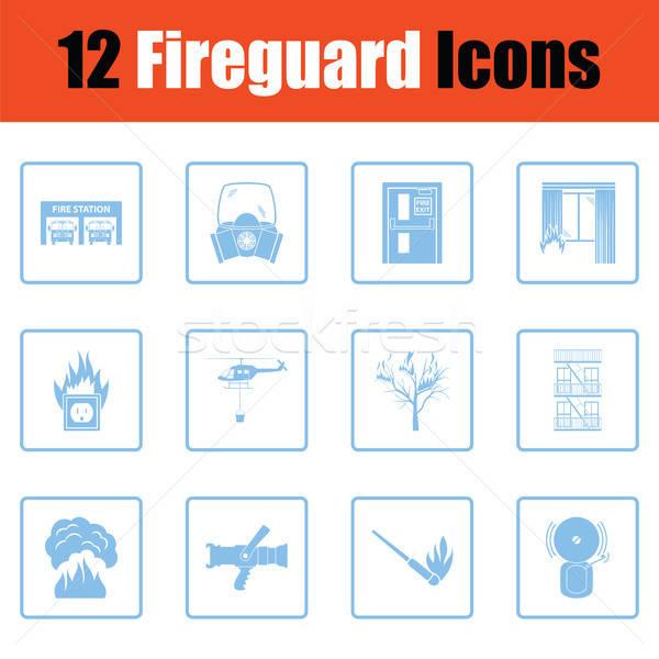 Zestaw ognia usługi ikona niebieski Zdjęcia stock © angelp