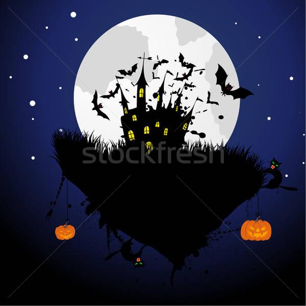 Feliz halloween cartão cara gato arte Foto stock © angelp