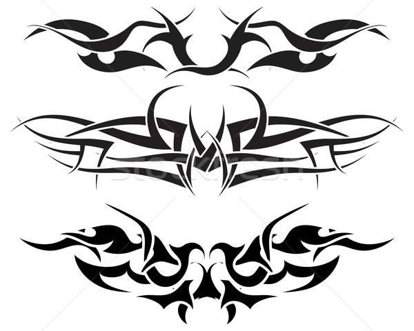 Foto stock: Tatuagens · conjunto · padrões · tribal · tatuagem · projeto