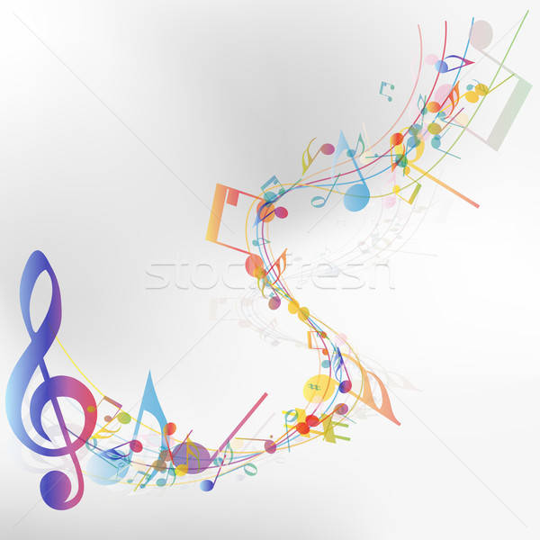 Multicolor musical note staff Stock photo © angelp