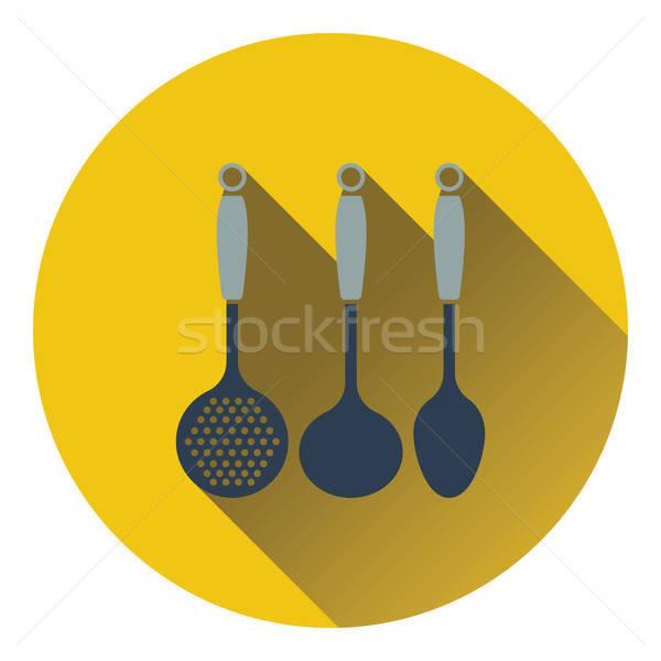 Merőkanál szett ikon étel terv étterem Stock fotó © angelp
