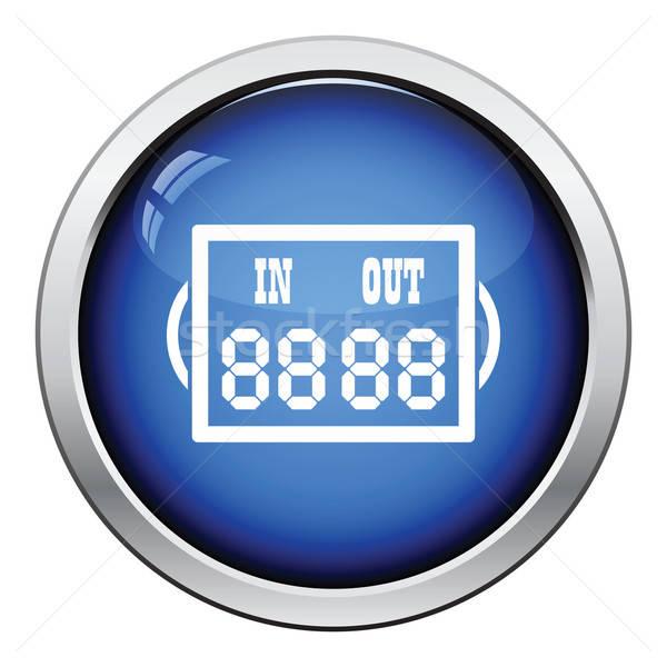 Icon voetbal arbiter scorebord glanzend knop Stockfoto © angelp