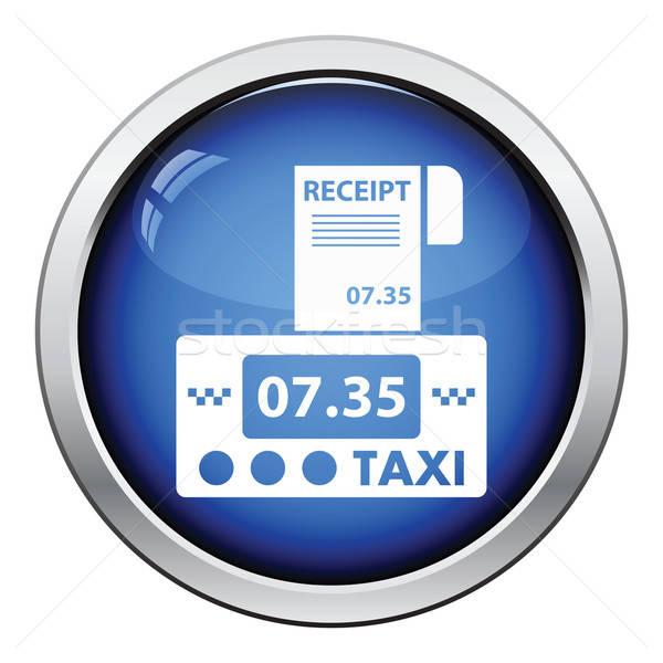 Taxi ricevimento icona lucido pulsante design Foto d'archivio © angelp