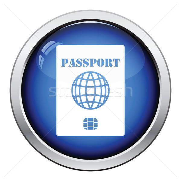 Foto stock: Passaporte · lasca · ícone · botão · projeto