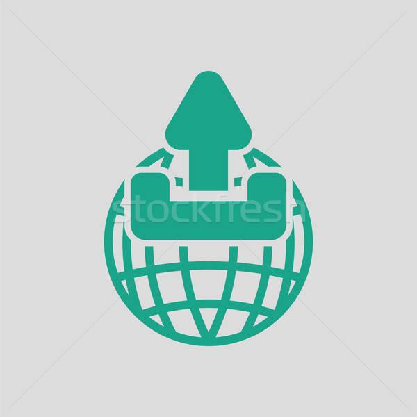 世界中 アップロード シンボル アイコン グレー 緑 ストックフォト © angelp
