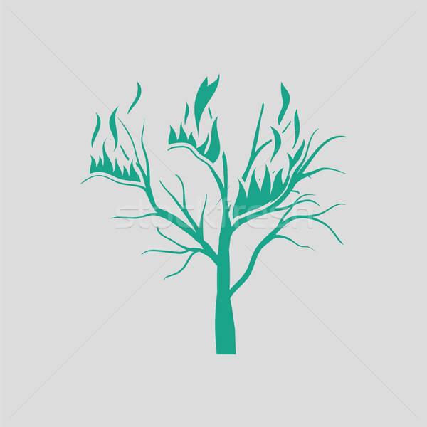 Wildfire ikona szary zielone drzewo ognia Zdjęcia stock © angelp
