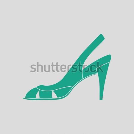 Női cipő magas sarok ikon szürke zöld Stock fotó © angelp