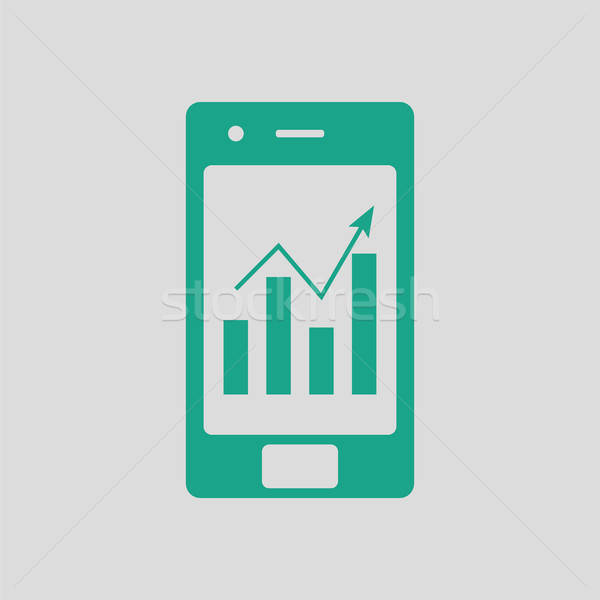 Smartphone analytics diagramme icône gris vert Photo stock © angelp