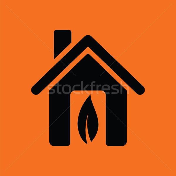 экологический домой лист икона оранжевый черный Сток-фото © angelp