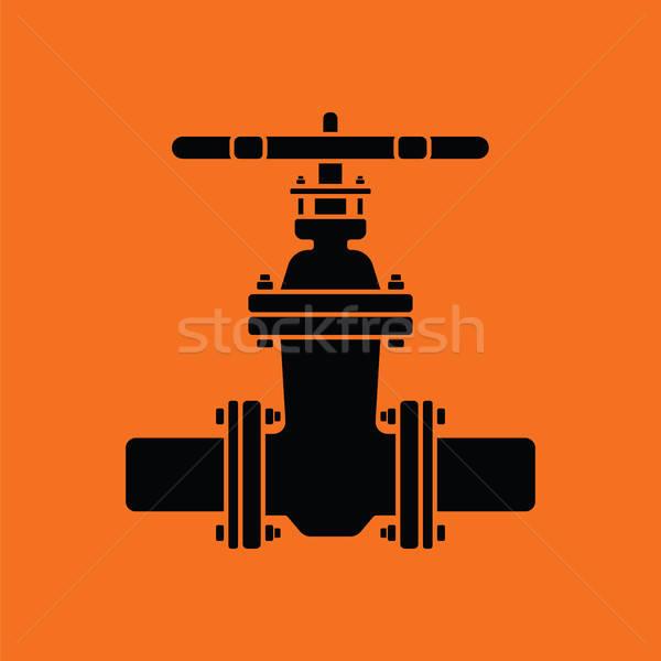 Boru valf ikon turuncu siyah su Stok fotoğraf © angelp
