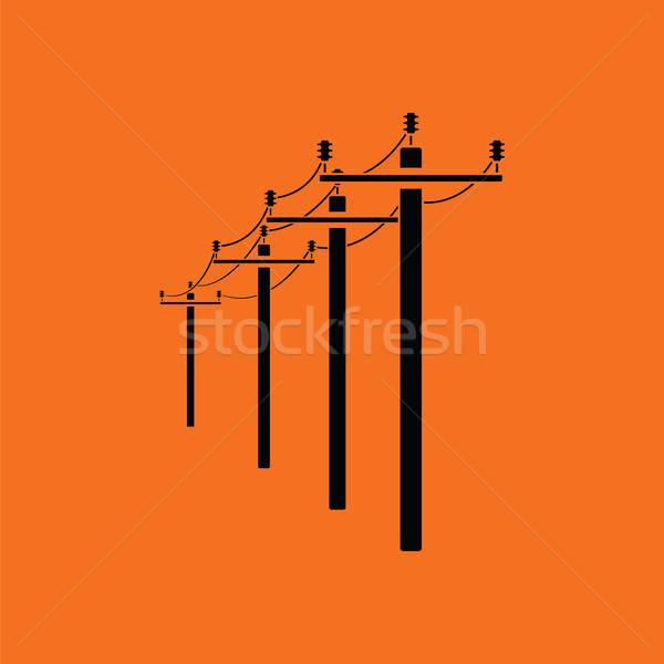 Alta tensão linha ícone laranja preto metal Foto stock © angelp
