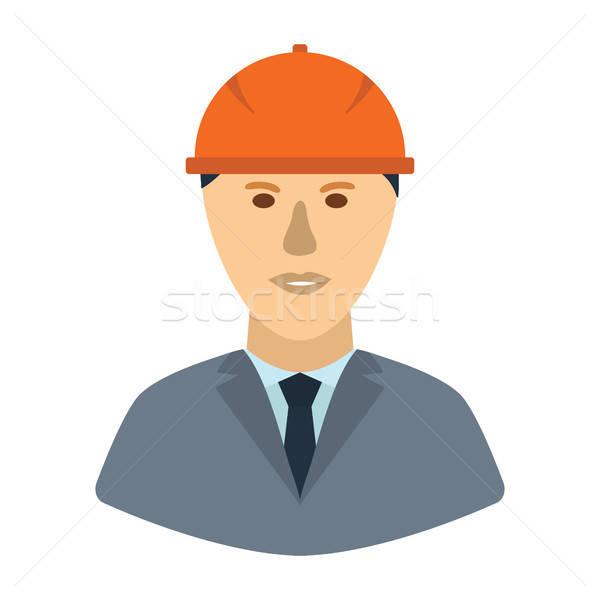 Icon of construction worker head in helmet Stock photo © angelp