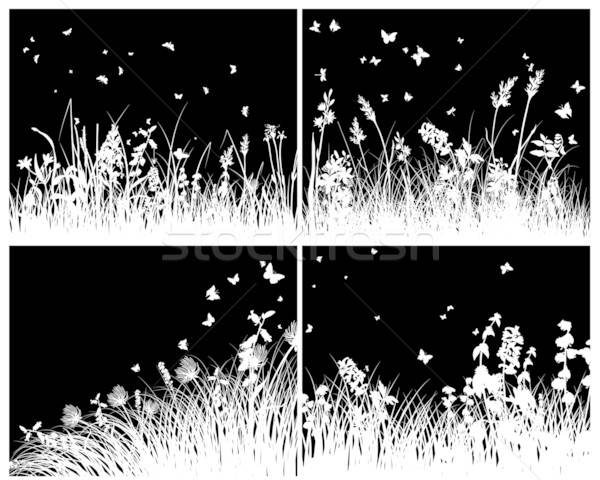 луговой силуэта набор вектора трава Сток-фото © angelp