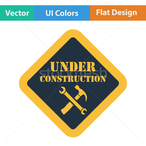 Flat design icon of Under construction Stock photo © angelp