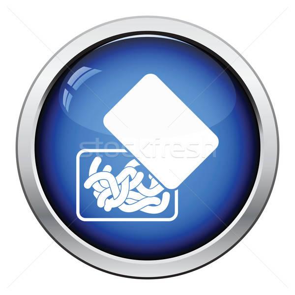 Icon worm container glanzend knop ontwerp Stockfoto © angelp