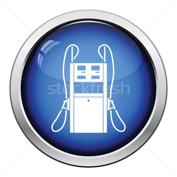 Carburante stazione icona lucido pulsante design Foto d'archivio © angelp