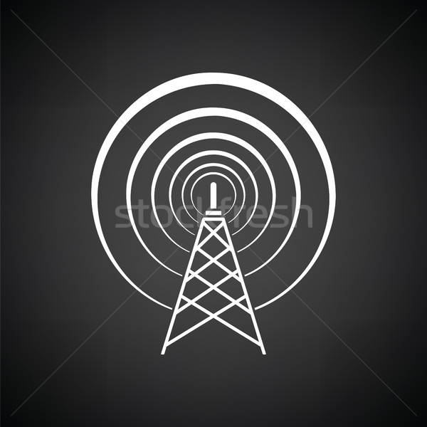 Radio antena icono blanco negro negocios teléfono Foto stock © angelp