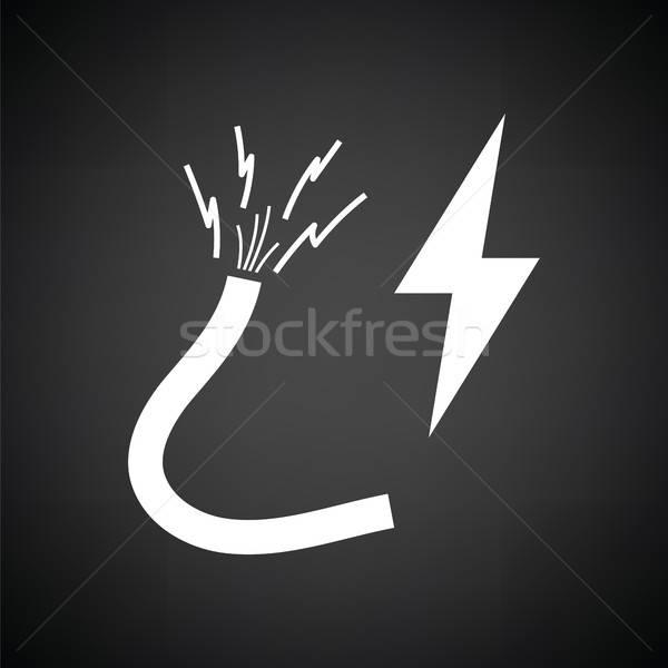 Ikona drutu czarno białe świetle przemysłu kabel Zdjęcia stock © angelp