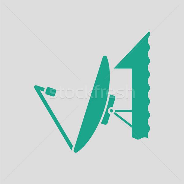 Satellite antenne icône gris vert télévision Photo stock © angelp