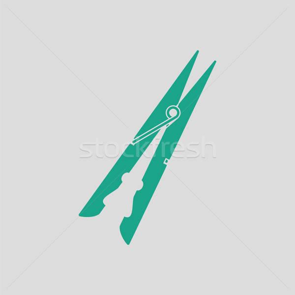 Ruha szeg ikon szürke zöld nyakkendő Stock fotó © angelp