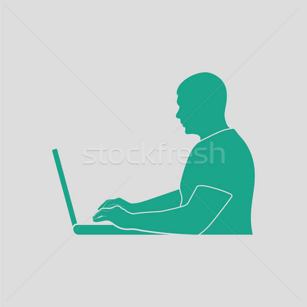 Stock photo: Writer at the work icon