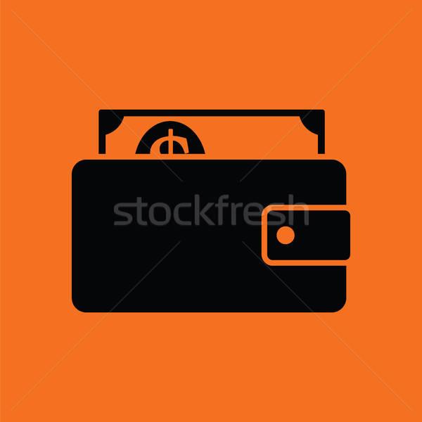 Pénztárca pénz ikon narancs fekete vásárlás Stock fotó © angelp