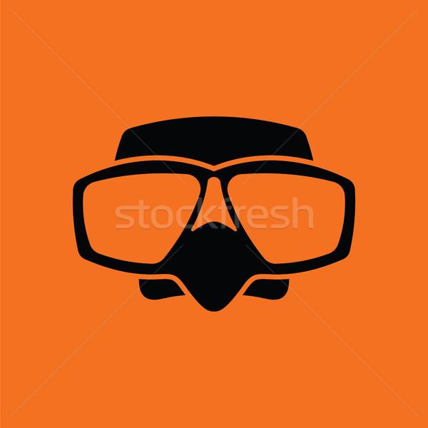 アイコン スキューバダイビング マスク オレンジ 黒 ビーチ ストックフォト © angelp