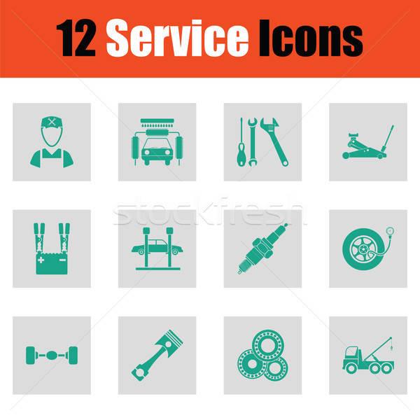 Set dodici servizio stazione icone Foto d'archivio © angelp