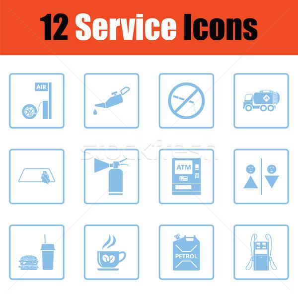 Establecer doce gasolinera iconos azul Foto stock © angelp