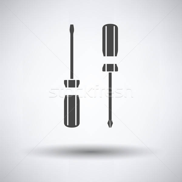 Сток-фото: отвертка · икона · серый · работу · технологий · фон